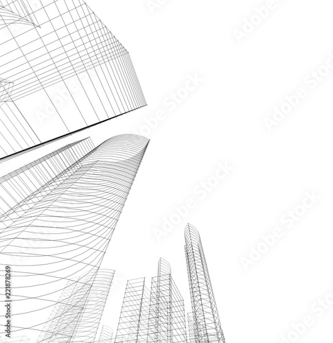 building construction architecture 3d illustration - 221878269