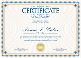 Certificate or diploma retro vintage design template  © totallyout