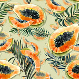 Seamless pattern with bright exotic papaya fruit and palm leaves on green background. Ripe papaya with black seeds cut in half . Watercolor painting. Hand drawn illustration. - 221884600