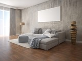 Mock up a modern living room with a large gray corner sofa and a stylish hipster background. - 221884602