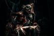 Leinwanddruck Bild - throne in darkness