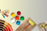 Paint brushes and paint cans for  repair on wooden background - 221889268