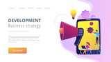 Tablet with loudspeaker and team working on white paper. ICO investment document, startup business strategy, product development plan concept, violet palette. Website landing web page. - 221893688