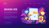 People drawing web page elements on the smartphone and LCD screen. Front end development it concept. Software development process. Violet palette. Website landing web page template.