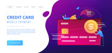 Credit card with dollar coin and users. E-commerce and online shopping, financial operations and plastic card, mobile payment and banking concept, violet palette. Website landing web page template. - 221895415