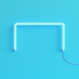 Neon light on bright blue background in pastel colors - 221899441