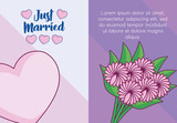 wedding card with bouquet of flowers - 221899492