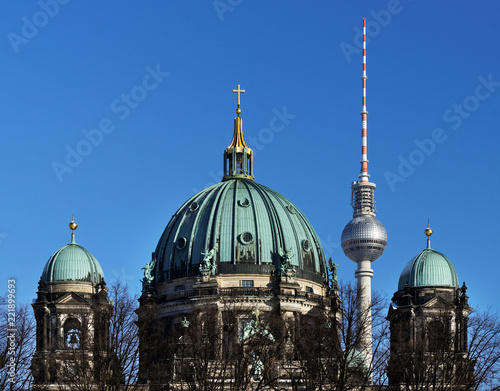 The Berlin Television Tower is positioned in the picture between two domes of the Berlin Cathedral - Location: Germany, Berlin,