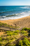 Stairs going down to Bells beach in the Torquay region in Victoria, Australia - 221904045
