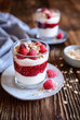 Cranachan - traditional dessert with whipped cream, oatmeal and raspberries