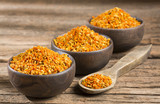 Golden bee pollen granules - Top view