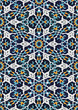 Vector Oriental ornaments in blue tones. Seamless image for graphic resource and for design projects. Seamless endless pattern with matching edges. - 221907899
