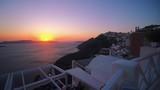 Sunset over beautiful town of Thira on the Island of Santorini. - 221907804