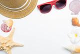 summer beach accessories on white - 221910038