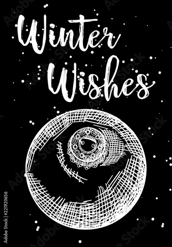 Wesołych Świąt i szczęśliwego nowego roku ręcznie rysowane kartkę z życzeniami. Nowoczesna i klasyczna kreatywna karta świąteczna. Ręcznie rysowane uroczysty ulotki. Wektor.