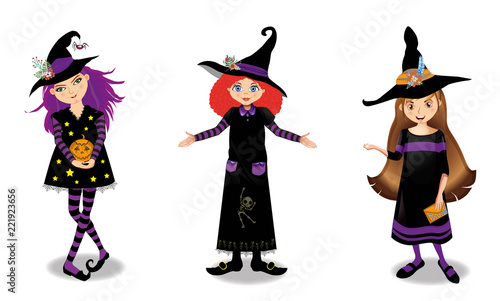 Halloween vector illustration of three young witch girls isolated on white background. - 221923656