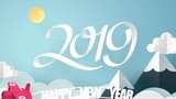 Paper art of Happy new year 2019 celebration, red air plane pulling happy new year text and flying in the sky, animation and footage - 221926073