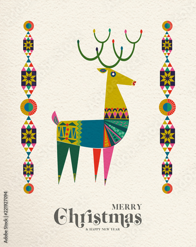 Christmas and New Year Scandinavian deer card © cienpiesnf