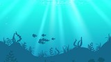 Aquatic animals in underwater world, footage and animation. - 221927403