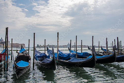 multiple gondolas on grand canal in venice - 221927845