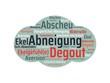 Leinwanddruck Bild - Das Wort - Abneigung - abgebildet in einer Wortwolke mit zusammenhängenden Wörtern