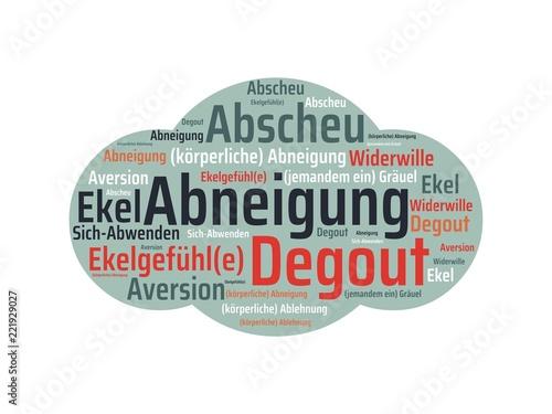 Leinwanddruck Bild Das Wort - Abneigung - abgebildet in einer Wortwolke mit zusammenhängenden Wörtern