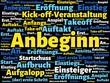Das Wort - Anbeginn - abgebildet in einer Wortwolke mit zusammenhängenden Wörtern - 221929218