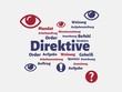 Das Wort - Direktive - abgebildet in einer Wortwolke mit zusammenhängenden Wörtern - 221929264