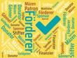Das Wort - Förderer - abgebildet in einer Wortwolke mit zusammenhängenden Wörtern - 221929287