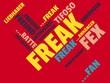 Das Wort - Freak - abgebildet in einer Wortwolke mit zusammenhängenden Wörtern - 221929288