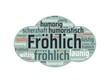 Das Wort - Fröhlich - abgebildet in einer Wortwolke mit zusammenhängenden Wörtern - 221929290