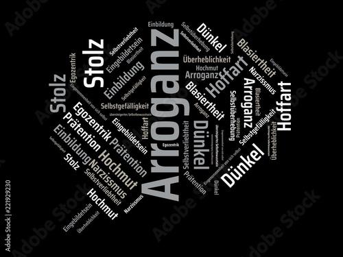 Das Wort - Arroganz - abgebildet in einer Wortwolke mit zusammenhängenden Wörtern - 221929230