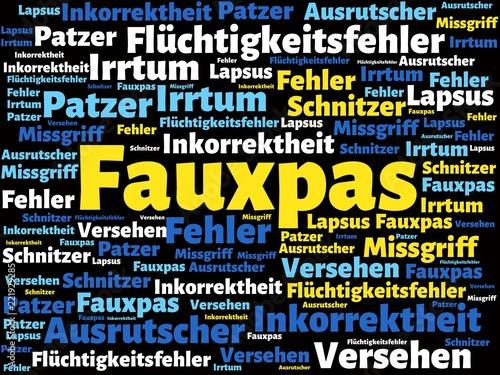Leinwanddruck Bild Das Wort - Fauxpas - abgebildet in einer Wortwolke mit zusammenhängenden Wörtern