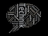 Das Wort - Technik - abgebildet in einer Wortwolke mit zusammenhängenden Wörtern