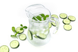 Cucumber and mint lemonade in a jar on a white background with copyspace - 221931019