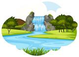Waterfall scene cloud shape