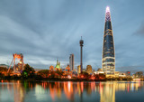 Beautiful evening view of skyscraper by lake at downtown, Seoul - 221934475