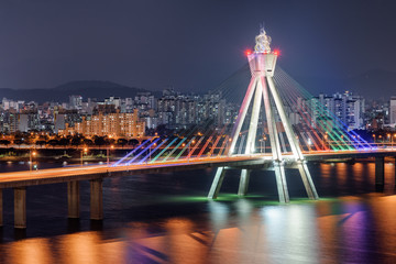 Amazing night view of Olympic Bridge over the Han River © efired
