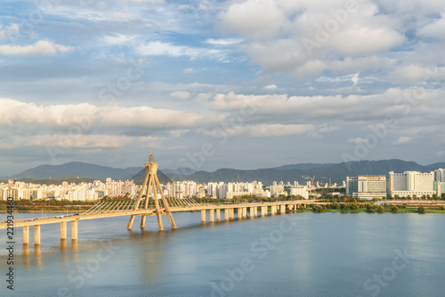Amazing view of Olympic Bridge over the Han River, Seoul - 221934460