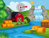 Farm land with waterfall - 221934625