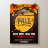 Autumn Party Flyer Illustration with falling leaves and typography design on vintage wood background. Vector Autumnal Fall Festival Design for Invitation or Holiday Celebration Poster. - 221937018