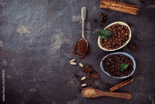 Sticker Roasted black and soft coffee beans and cinnamon, cardamom, star anise, top view