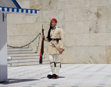 Athens, Greece, the Protection of the Greek Parliament in Athens Syntagma square. In modern Greece, the evzons are members of the Presidential guard - 221944802