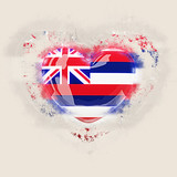 hawaii state flag on a grunge heart. United states local flags - 221947236