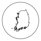 Map of South Korea icon black color in round circle - 221948234