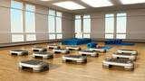 Step boards arranged inside the gym or fitness center. 3D illustration - 221948277