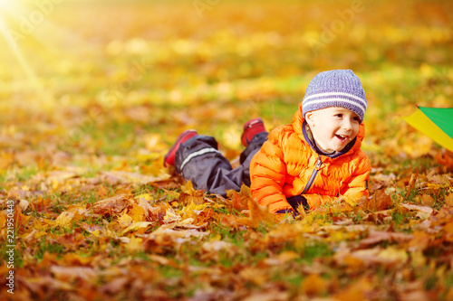 Child standing with umbrella in beautiful autumnal day - 221950443
