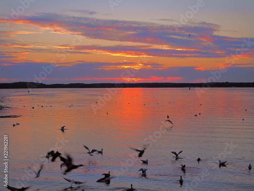 Leinwanddruck Bild Farbenfroher Sonnenuntergang,Waren Müritz