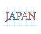 Japan on checkered paper texture- vector illustration