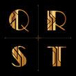art deco alphabet design letters vintage vector (q, r, s, t)